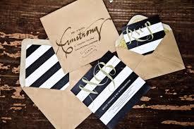 festive black and gold wedding inspiration southern weddings - Black And White Striped Wedding Invitations