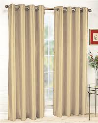 Yellow Faux Silk Curtains Beige Faux Silk Grommet Panel Moshells