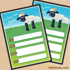 printable shaun sheep birthday invitation