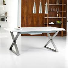 Gloss Dining Tables Crossed Leg Gloss Extending Dining Table White Dwell