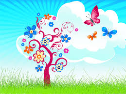 joyful tree with butterfly ppt backgrounds joyful tree with