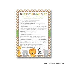 baby shower nursery rhyme game answers home design ideas