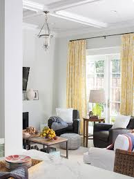 Yellow Gray Curtains White And Yellow Curtains Contemporary Living Room Bhg