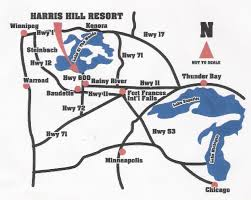 Lake Maps Mn Ontario Resort Location Driving Directions Maps Harris Hill Resort