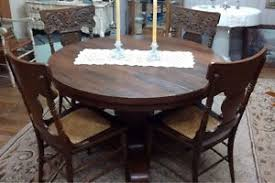 Antique Round Oak Pedestal Dining Table Vintage Round Oak Pedestal Dining Table With 5 Caned Seat Carved