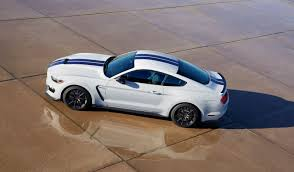 white mustang blue stripes shelby gt350 mustang in white with blue stripes is 500 hp of america