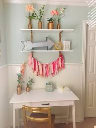 girls bedroom desk coral blush mint metallic gold my own