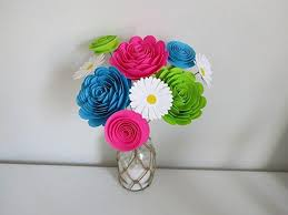 paper flower bouquet bright paper flower bouquet modern roses and daisies fuchsia