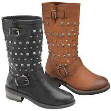 ladies brown biker boots ladies womens biker boots mid calf army combat riding winter goth