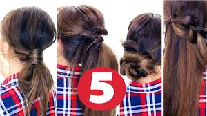 5 easy lazy hairstyles everyday cute hairstyles youtube