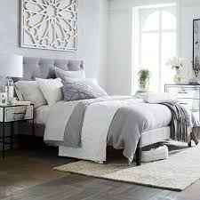 Grey Bed Frame Narrow Leg Upholstered Bed Frame Dove Gray West Elm