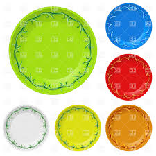 Decorative Plastic Plates Disposable Plates With Decorative Edging Vector Clipart Image