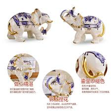 a european style ceramic elephant ornaments on the living room