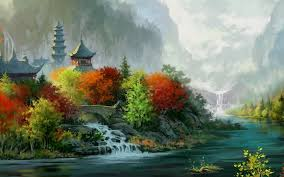 fantasy autumn wallpaper fantasy art painting asian oriental trees autumn fall rivers