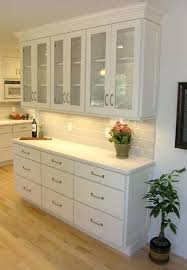 shallow cabinet with door buffet built out of white shaker cabinet