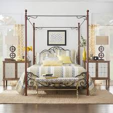 leann graceful scroll iron metal queen sized canopy poster bed by