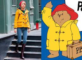 taylor swift channels paddington bear bright yellow toggle coat
