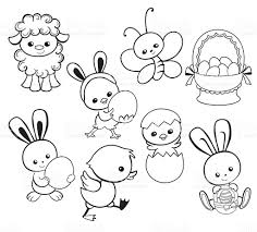 happy easter holiday illustration cartoon characters coloring page