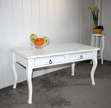 Wohnzimmertisch Antik Couchtisch 98x50x48cm 2 Schubladen Pappel Massiv Weiß Antik Lackiert