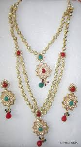 red necklace earrings set images Buy gold plated red green white pearl kundan long necklace earring JPG