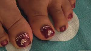 burgundy toe nail design youtube