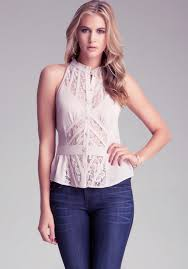 bebe blouses sale lyst bebe sleeveless lace button up blouse in pink