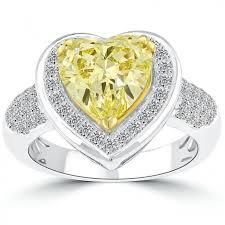 heart shaped diamond engagement ring 3 55 carat fancy yellow heart shape diamond engagement ring 14k