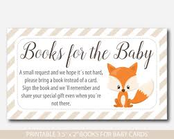 instead of a card bring a book woodland bring a book instead of a card inserts fox baby shower