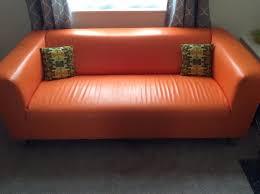 Ikea 2 Seater Leather Sofa Ikea Orange Faux Leather 2 Seater Retro Sofa In Caversham