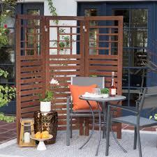 outdoor room dividers brown slat patio room divider screen 3 panel home living outdoor