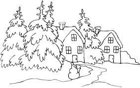 Coloriage Paysage Neige en blanc dessin gratuit à imprimer