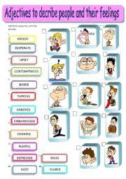 adjectives describing people and their feelings matching editable