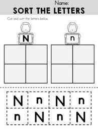 alphabet letter n worksheet standard block font preschool