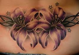 free lower back flowers vine tattoo design