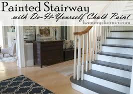 How To Paint Stair Banisters Kammy U0027s Korner Painting The Stairs With Diy Chalk Paint