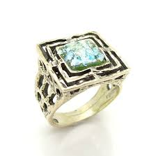 large silver rings images Wide and square mens roman glass large silver ring roman glass JPG