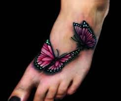 black and pink butterflies on left ankle tattooshunt com
