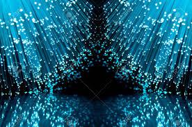 fiber optic light strands two groups of blue illuminated fiber optic light strands against