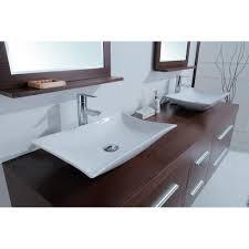 Modern Double Sink Bathroom Vanity by Calliope 72 Inch Modern Double Vessel Sink Vanity Iron Wood Finish