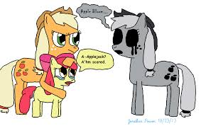 applejack and apple bloom meets ghost applejack by thesontendo on
