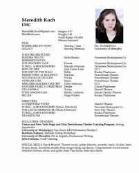 Musical Theater Resume Sample by A Good Sample Acting Theater Resume Template With Photo Acting