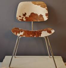 eames dcm plywood chair with cowhide upholstery ebth