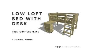 Diy Loft Bed With Desk by Free Diy Furniture Plans How To Build A Twin Sized Low Loft