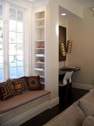 Built In Window Bench Seat Interior Living Room Amazing White Custom Wooden Bay Window Seat