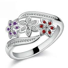 girls rings silver images Funny design three color cz flower ring for women girls fashion jpg