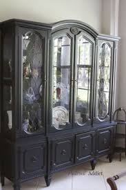 Black China Cabinet Hutch by Black Hutch With French Script Back Someday Ill Have Time To Do A