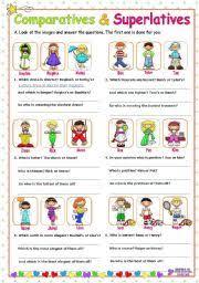 english worksheet adjectives comparatives and superlatives