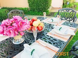 9 Pc Patio Dining Set by Elise Cast Aluminum 9 Piece Patio Dining Set Coastlink Furniture