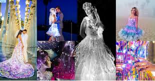 rainbow electric light up and rock star custom wedding dresses