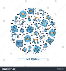music themed music themed circle pattern background design stock vector